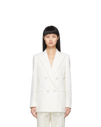 Saint Laurent White Wool Double Breasted Blazer