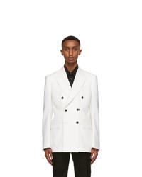 Alexander McQueen White Wool Double Breasted Blazer