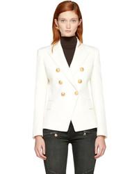 Balmain White Wool Six Button Blazer
