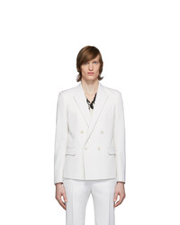 Saint Laurent White Wool Tailored Double Breasted Blazer