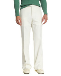 Solid flat front wool trousers ivory medium 815281