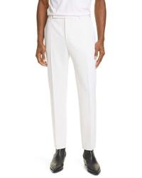 Saint Laurent White Wool Straight Leg Pants