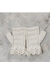 Off White Hand Knitted 100% Alpaca Fingerless Mittens Pale Petals