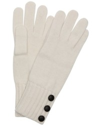 Wyatt White Knit Blend Minerva Button Detail Gloves