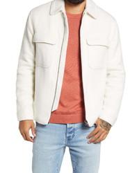 White Wool Harrington Jacket