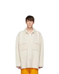 White Wool Shirt Jacket