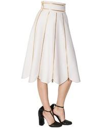 Salvatore Ferragamo Zippered Double Wool Cashmere Skirt