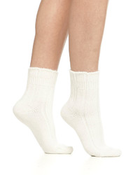 Cashmere blend cozy ruffled bedsocks off white medium 152169