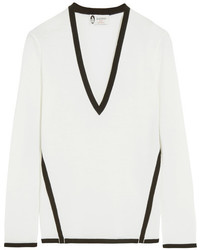 Lanvin Two Tone Wool Sweater Ivory