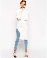 Asos Collection Tunic In Structured Knit With Turtleneck Side Split