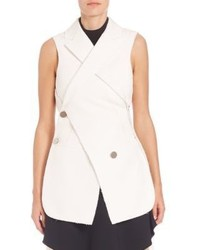 Proenza Schouler Asymmetric Double Breasted Cotton Wool Jacquard Vest