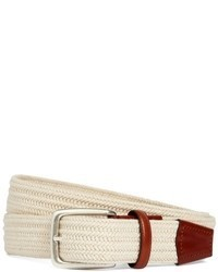 White Woven Canvas Belt