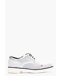 White Woven Leather Derby Shoes