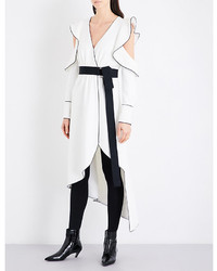 Self-Portrait Monochrome Asymmetric Wrap Crepe Dress