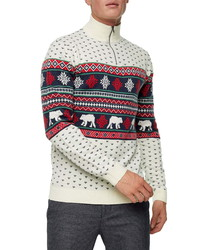 Topman Christmas Fair Isle Quarter Zip Mock Neck Sweater