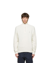 Polo Ralph Lauren Off White Cotton Mesh Quarter Zip Sweater