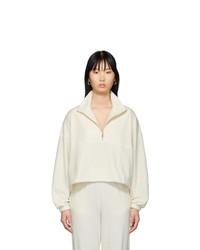 Gil Rodriguez Off White Velour Diana Half Zip Sweatshirt