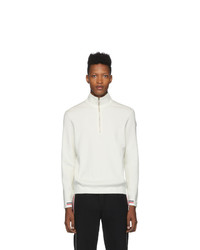 Moncler White Maglione Lupetto Zip Up Sweater