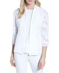 Ming Wang Mesh Inset Jacquard Jacket