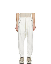Rick Owens White Zippered Sweatpants