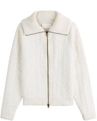 Wool chunky knit zip front cardigan medium 782211