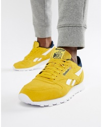 brand new 9f884 8a779 Reebok Classic Leather Trainers In Yellow Suede