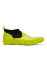 Issey Miyake Men Yellow Vulcanized Mid Top Sneakers