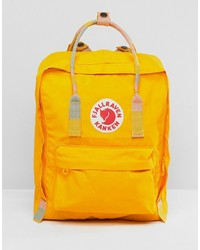 FjallRaven Kanken In Warm Yellow With Blocked Contrast And Straps