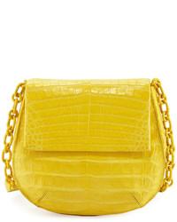 Nancy Gonzalez Crocodile Chain Strap Saddle Bag Yellow