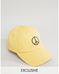 Reclaimed Vintage Inspired Baseball Cap With Peace Sign Embroidery