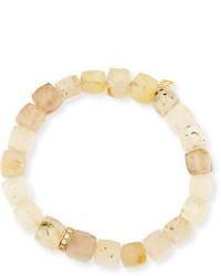 Sydney Evan Jewelry 8mm Cubed Rutilated Quartz Beaded Bracelet With Diamond Rondelle