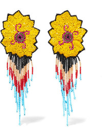 Etro Beaded Clip Earrings Yellow