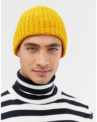 409995cdd27af ASOS DESIGN Fisherman Beanie In Chunky Mustard Chenille