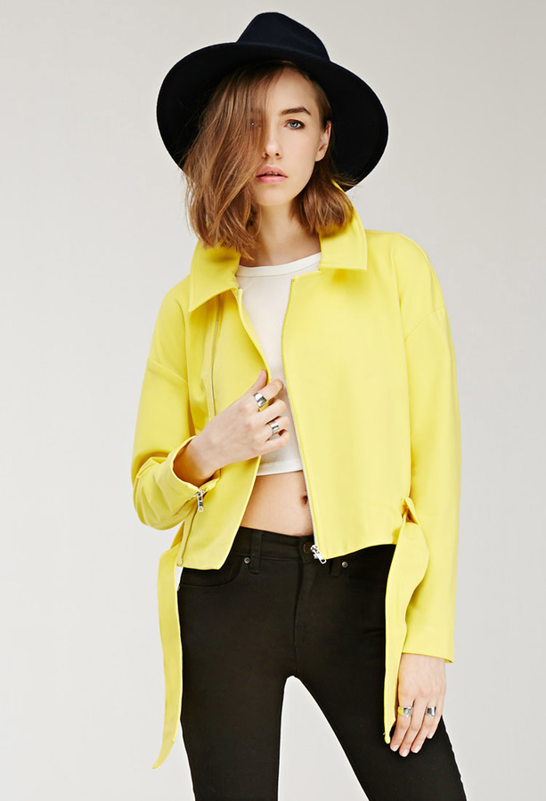 Yellow Biker Jacket: Forever 21 Woven Moto Jacket