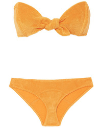 Lisa Marie Fernandez Poppy Knotted Cotton Blend Terry Bikini