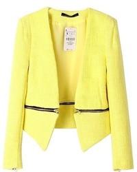 ChicNova Zip Decorated Pure Color Blazer