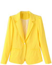 Choies Yellow Lapel Single Button Slim Blazer