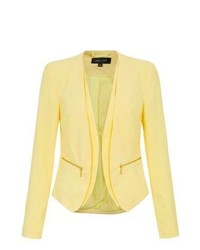 New Look Yellow Crepe Zip Pocket Blazer Jacket