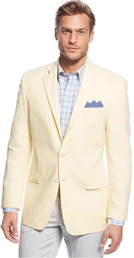 Men's Fashion › Jackets › Blazers › Yellow Blazers Lauren Ralph Lauren  Solid Linen Classic Fit Sport Coat ...
