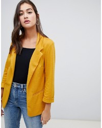 New Look Textured Blazer In Yellow
