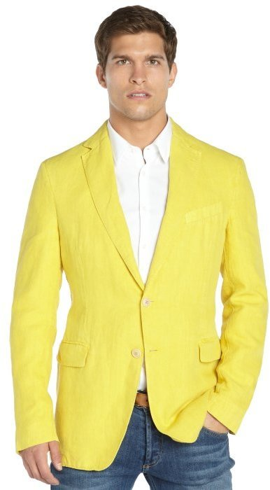 Etro Yellow Linen Two Button Jacket | Where to buy & how to wear