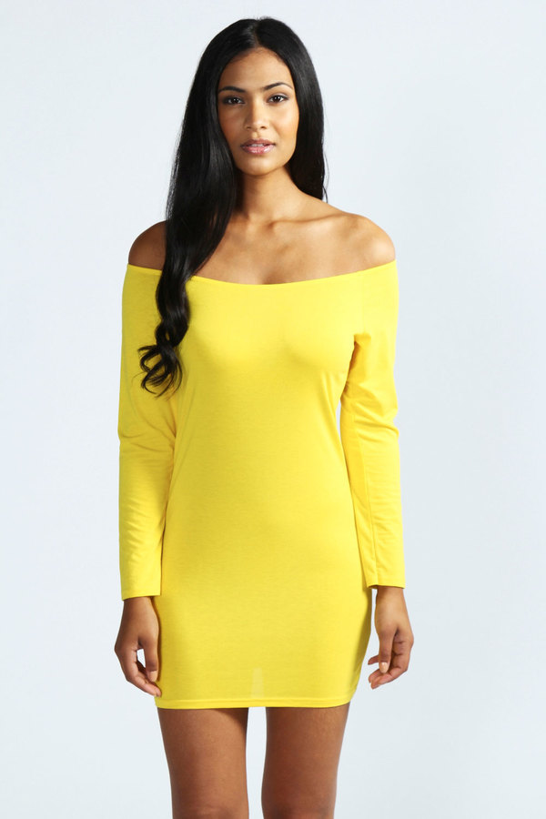 a45bedf6541d ... Yellow Bodycon Dresses Boohoo Alice Off The Shoulder Long Sleeve  Bodycon Dress ...