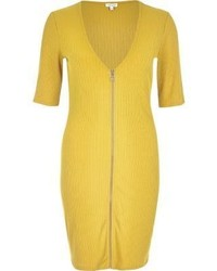 Dark yellow zip through bodycon dress medium 1014693