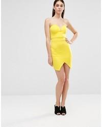 dbc4e16ac6891 ... Twin Sister Scuba Mini Sweetheart Bodycon Dress With Wrap Over Skirt ...