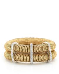 Alor Classique Double Row Spring Coil Cable Diamond Bracelet Yellow