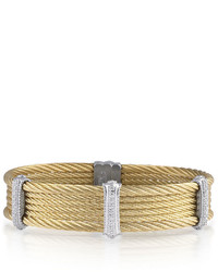 Alor Classique Pave Diamond Multi Strand Steel Cable Bracelet Yellow