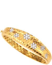 Roberto Coin Hammered Diamond Flower Bangle Bracelet