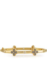 Freida Rothman Thin Stackable Cz Clover Bangle Bracelet