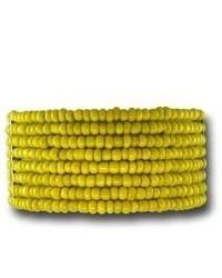 VistaBella Fashion Yellow Bead Silver Tone Wide Stretch Bracelet