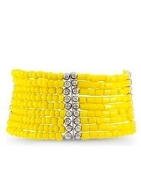 VistaBella Yellow Silver Tone Beads Wide Stretch Bracelet